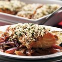 Thyme-Crusted Alaska Black Cod on Braised Red Onions